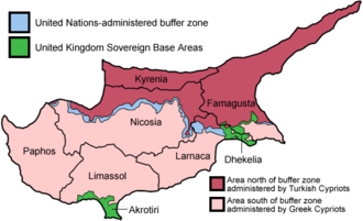 Foreign relations of Greece - A map of divided Cyprus.