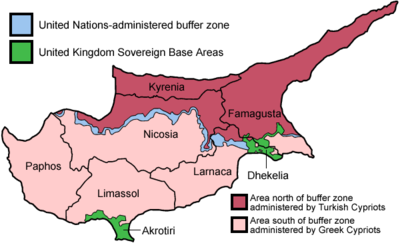 The partition of Cyprus showing the Turkish-occupied north and government controlled south. Cyprus districts named.png