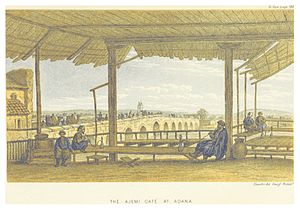 Taşköprü (Adana) - The Ajemi café with Taşköprü in the background, also by Edwin John Davis.