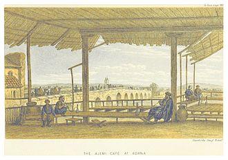 Taşköprü (Adana) - The Ajemi café with Taşköprü in the background, also by Edwin John Davis.