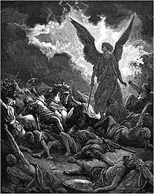 Wood engraving by Gustave Doré depicting the Biblical narrative of an angel destroying Sennacherib's army outside Jerusalem