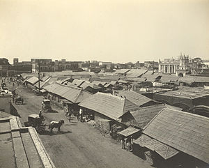 Chowk Bazaar - View of the shop roofs, 1904