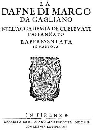 La Dafne - La Dafne, Gagliano's score from 1608