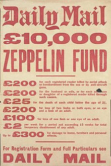 Advertisement by the Daily Mail for insurance against Zeppelin attacks  during the First World War f57c90261
