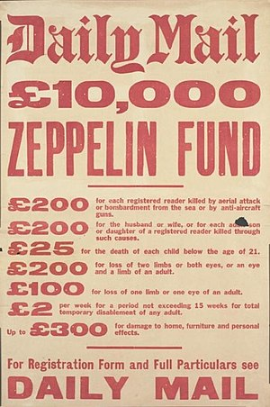 German strategic bombing during World War I - Advertisement by the Daily Mail for its Zeppelin fund.