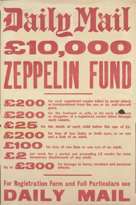 Advertisement by the Daily Mail for insurance against Zeppelin attacks during the First World War Daily Mail Zeppelin Fund WWI.jpg