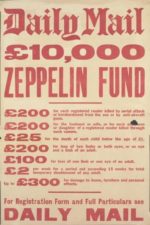 Daily Mail Zeppelin Fund WWI