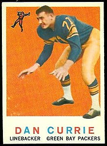 "A trading card with Dan Currie in uniform with the words ""Dan Currie, Linebacker, Green Bay Packers"" at the bottom"