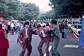 Dancers act out a fighting scene according to music, in a street beside the Yoyogi Park (1992-10 by sodai gomi).jpg