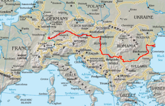Danubian corridor - Topography of Europe, with Danube marked red