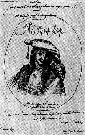 Darejan of Kakheti, Queen of Imereti - Darejan, Queen of Imereti. A sketch by the contemporary Italian missionary Cristoforo Castelli.