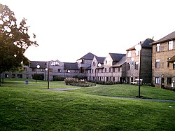 Darwin Houses, a set of student housing next to Darwin College, surrounds a large rose garden