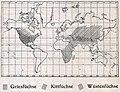 Das Kürschner-Handwerk, II. Auflage 3. Teil, S. 45, Weltkarte Verbreitung der Grisfüchse, Kittfüchse und Wüstenfüchse (1910).jpg