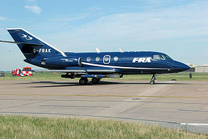 Target tug - FR Aviation Services Dassault Falcon 20 modified for target towing at the 2006 Royal International Air Tattoo