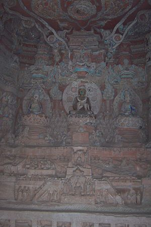 English: Dazu rock carvings, beishan detailed ...