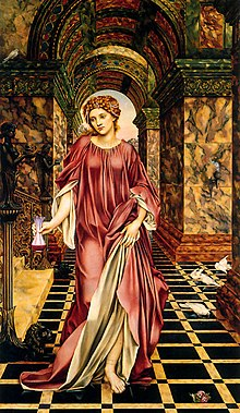 Young woman in a flowing gown walks barefoot on a tiled floor upon which are a few doves. Marble walls and arched halls are behind her.