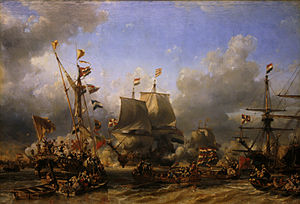 Michiel de Ruyter - Embarkment of De Ruyter and De Witt at Texel, 1667 by Eugène Isabey