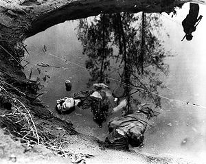 New Guinea campaign - Two dead Japanese soldiers in a water filled shell hole somewhere in New Guinea