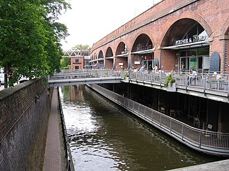 "Rochdale Canal - The canal passes through Manchester city centre, seen here by the ""Deansgate Locks"" bars."