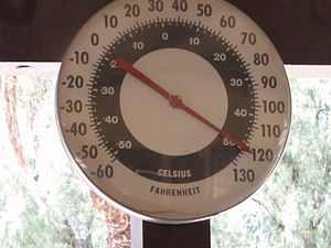 English: A thermometer at the Furnace Creek Ra...