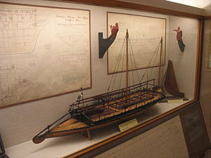 "Gunboat - A model of a type of decked ""gun yawl"" designed by Fredrik Henrik af Chapman and used by the Swedish archipelago fleet"