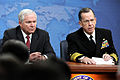 Defense.gov News Photo 110301-D-XH843-002 - Chairman of the Joint Chiefs of Staff Adm. Mike Mullen speaks about his recent trip to the Middle East during a press conference with Secretary of.jpg