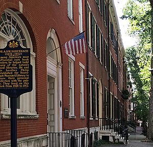 Delancey Place - The 2000 block of Delancey Place, with Rosenbach Museum in foreground.