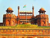 Red Fort with the Indian Flag at the centre
