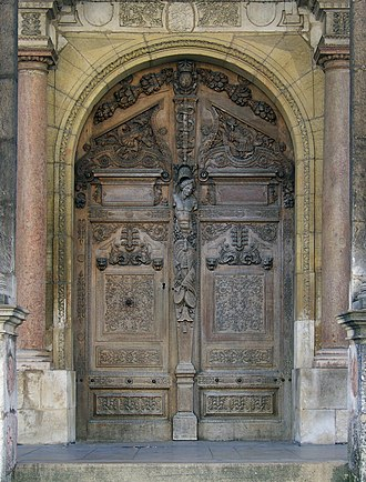 Hugues Sambin - Main door of the Parliament of Burgundy (currently law courts) in Dijon, door sculpted by Hugues Sambin, 1580
