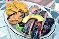 Dinner at La Estacion near Fajardo, Puerto Rico, pork ribs with tostones.jpg