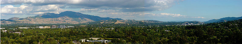 Central county scene — Mount Diablo and portions of Concord, Pleasant Hill, and Walnut Creek, with former grasslands now an urban forest in low density suburbs with extensive business centers and residential buildings near BART locations (at the tall building groups). A recent (2007-8) development near the downtown Bart station consists of luxury apartments.>