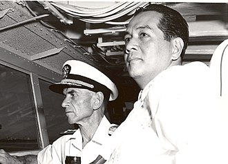 Diosdado Macapagal - President Diosdado Macapagal on the bridge of the USS Oklahoma City in 1962