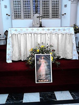 Divine Mercy Sunday - A display at the Altar on Divine Mercy Sunday at St Pancras Church Ipswich