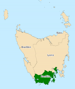 Division of Franklin - Division of Franklin in Tasmania, as of the 2016 federal election.