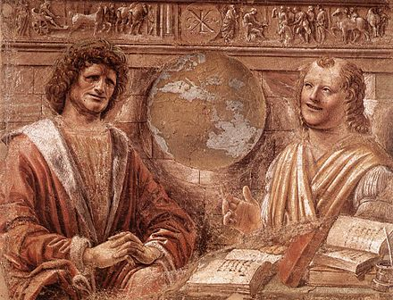 Donato Bramante's Heraclitus and Democritus is thought by some to portray Leonardo as Heraclitus (left) and Bramante as Democritus (right). It would be the only portrait made of Leonardo in his young adulthood. Donato Bramante - Heraclitus and Democritus - WGA3054.jpg