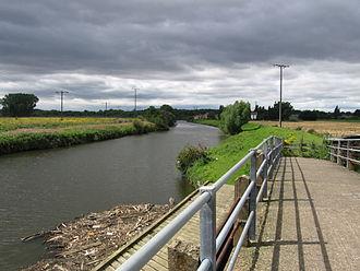 River Don, Yorkshire - A footbridge, looking towards Newton
