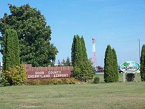Door County Cherryland Airport - Sign at airport entrance