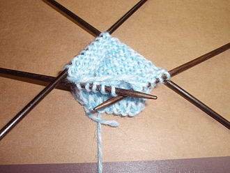 Circular knitting - Knitting on double points.