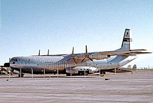 Douglas C-133 Cargomaster - C-133B Cargomaster N77152 of the Foundation for Airborne Relief at Tucson Airport Arizona in 1973 still wearing MAC markings