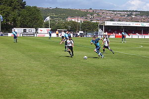 History of Wycombe Wanderers F.C. - Wycombe (blue shirts) in action against Dover Athletic in 2009