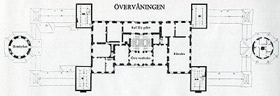Drottningholms slot, plantegning, hovedlejligheden (til venstre) og overlejligheden.   Haven ligger ned ad på tegningen.