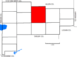 Location of Duchouquet Township in Auglaize County