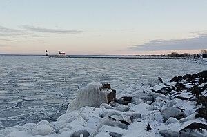 Lake Superior - A frozen Duluth Harbor Entrance