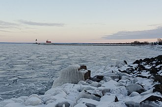 Lake Superior - A frozen Duluth Harbor Entrance