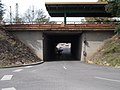 Dunakeszi-Gyartelep train station road underpass from east, 2016 Hungary.jpg