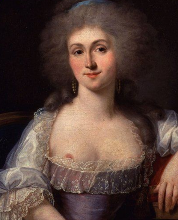 Duplessis%27s semi-topless portrait of the Princess of Lamballe dates from 18th Century France