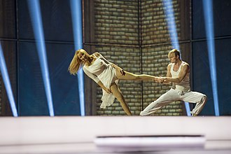 Estonia in the Eurovision Song Contest 2014 - Tanja performing choreography with dancer Argo Liik