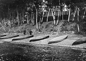 Sporting camp - A fleet of canoes at Eagle Lake Sporting Camps..