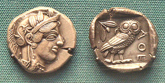 Silver mining - Early silver Athenian coin, 5th century BCE. British Museum.