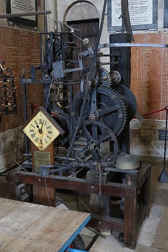 Exeter Cathedral astronomical clock - Early mechanism for the astronomical clock which was removed in 1885, but restored by John James Hall in its current position on the floor of the north transept in 1910